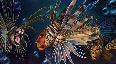 Lionfish Painting - The Sentinels by Patrick Anthony Pierson
