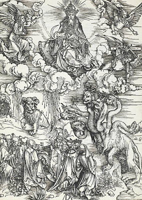 Durer Relief - The Seven-headed Beast And The Beast With Lamb's Horns by Albrecht Durer
