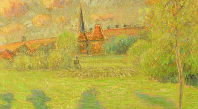 The Shepherd And The Church Of Eragny Print by Camille Pissarro