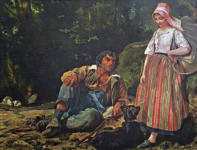 The Shepherdess Painting - The Shepherd And The Shepherdess by MotionAge Designs