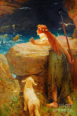 The Shepherdess Painting - The Shepherdess  by Celestial Images