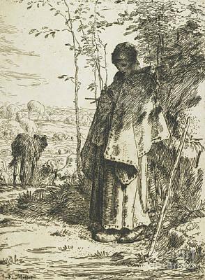 The Shepherdess Knitting, 1862 Print by Jean-Francois Millet