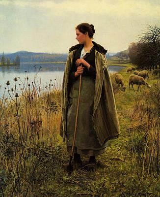 The Shepherdess Digital Art - The Shepherdess by Ridgway Knight
