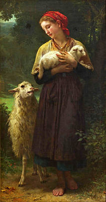 William-adolphe Bouguereau Painting - The Shepherdess by William-Adolphe Bouguereau
