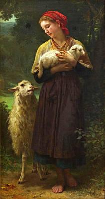 The Shepherdess Print by William-Adolphe Bouguereau