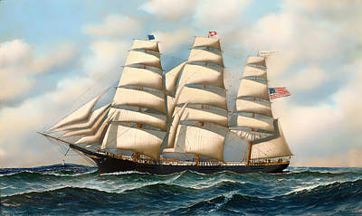 Water Vessels Painting - The Ship 'young American' At Sea by Mountain Dreams