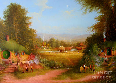 Tolkien Painting - The Shire. by Joe  Gilronan