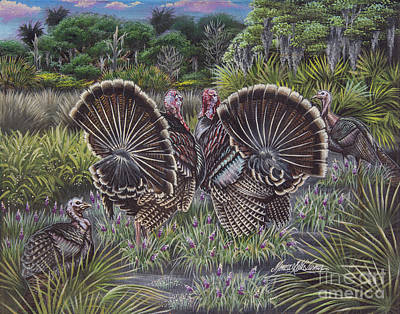 Florida Wild Turkey Painting - The Showoffs by Monica Turner