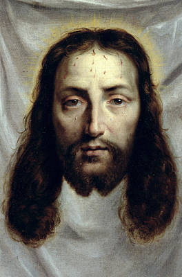 Jesus Face Painting - The Shroud Of Saint Veronica by Philippe de Champaigne