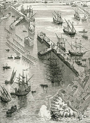 Port Drawing - The Siege Of Rochelle by French School