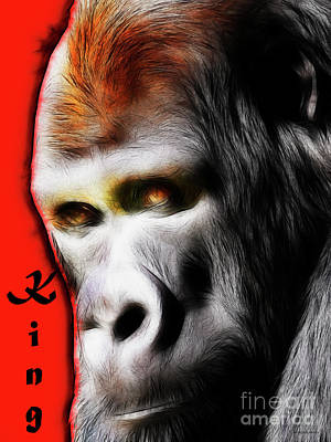 Ape Mixed Media - The Silverback Gorilla . King Of The Jungle by Wingsdomain Art and Photography