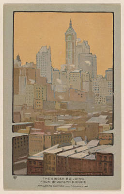 Brooklyn Bridge Drawing - The Singer Building From Brooklyn Bridge by Rachael Robinson Elmer
