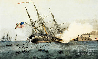 The Sinking Of The Cumberland By The Iron Clad Merrimac Print by American School