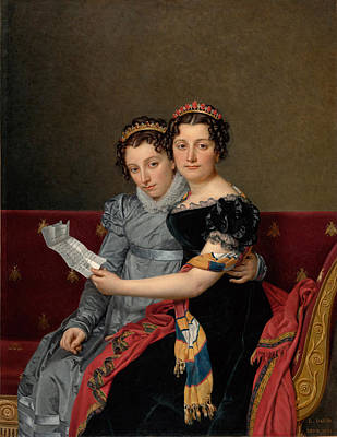Jacques-louis David Painting - The Sisters Zenaide And Charlotte Bonaparte by Jacques-Louis David