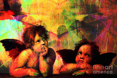 Jesus Christ Digital Art - The Sistine Modonna Baby Angels In Abstract Space 20150622 by Wingsdomain Art and Photography