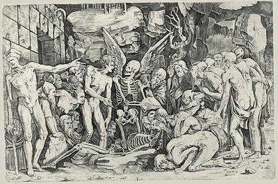 Baccio Bandinelli Drawing - The Skeletons by After Baccio Bandinelli