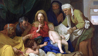 Cousins Painting - The Sleeping Christ by Charles Le Brun