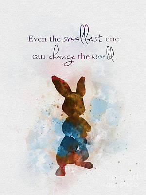 Rabbit Mixed Media - The Smallest One by Rebecca Jenkins