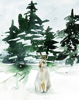 Rabbit Mixed Media - The Snow Bunny by Colleen Taylor