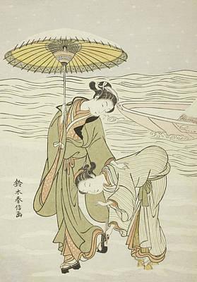 The Snow Clogged Geta Print by Suzuki Harunobu
