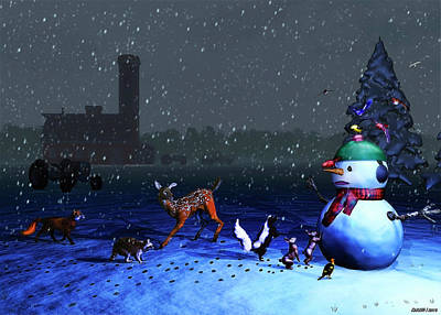 Raccoon Mixed Media - The Snowman's Visitors by Ken Morris