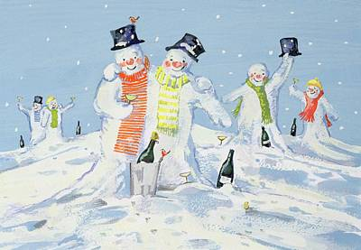 Robin Painting - The Snowmen's Party by David Cooke