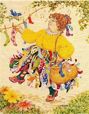 Bluebird Drawing - The Sock Lady by Dee Davis