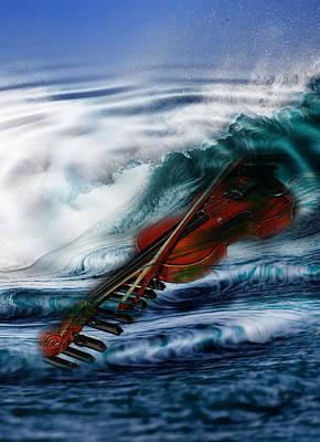 Violin Digital Art - The Sound Of The Waves by Angel Jesus De la Fuente