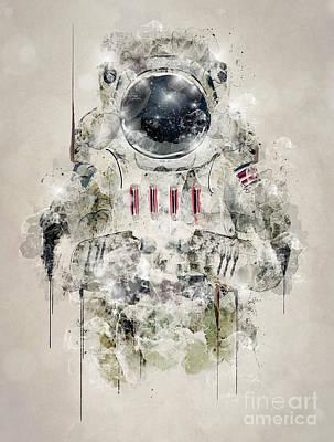 Astronauts Digital Art - The Space Traveller by Bri B