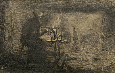 The Spinning Wheel  Print by Giovanni Segantini