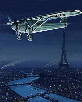 Aviator Drawing - The Spirit Of St Louis Flying Over Paris by English School