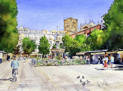 Plaza Bib Rambla Painting - The Square In Summer by Margaret Merry