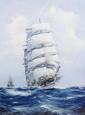 Gull Seagull Painting - The Square-rigged Clipper Argonaut Under Full Sail by Mountain Dreams