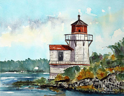 New England Lighthouse Painting - The Squirrel Point Lighthouse by Tim Ross