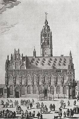 Zeeland Drawing - The Stadhuis, Middelburg, Zeeland by Vintage Design Pics