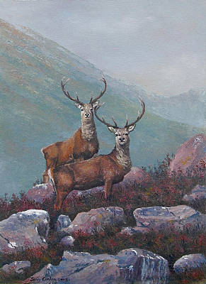 Fauna Painting - The Stags by Sean Conlon