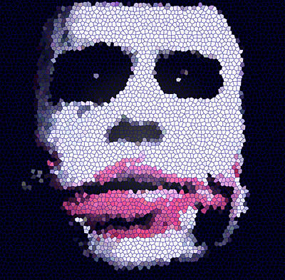 Heath Ledger Digital Art - The Stained Joker by Carl Haynes