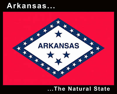 The State Flag Of Arkansas Print by Floyd Snyder