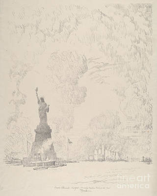 Statue Of Liberty Drawing - The Statue, New York Bay by Joseph Pennell