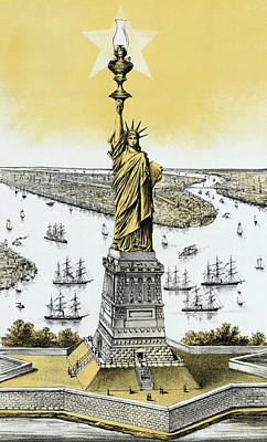 Statue Of Liberty Mixed Media - The Statue Of Liberty - Vintage by War Is Hell Store