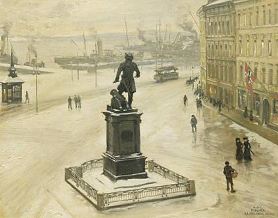 The Statue Of Tordenskiold Facing Piperviken Print by Paul Fischer