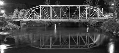 The Steel Bridge In Black And White Print by Greg and Chrystal Mimbs