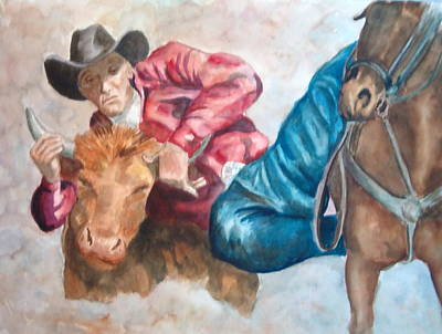 Steer Painting - The Steer Wrestler by Charme Curtin