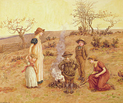 Bucolic Scenes Painting - The Stick Fire by Kate Greenaway