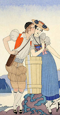 Ecole Painting - The Stolen Kiss by Georges Barbier