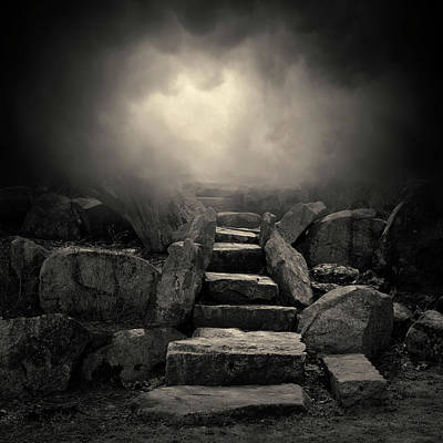 Contemplative Photograph - The Stone Steps I Toned by David Gordon