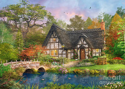 The Stoney Bridge Cottage Print by Dominic Davison