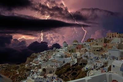 The Storm In Santorini Print by Yuri Hope