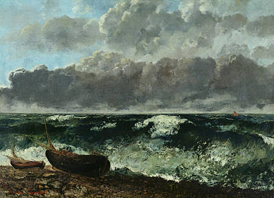 Spray Painting - The Stormy Sea by Gustave Courbet
