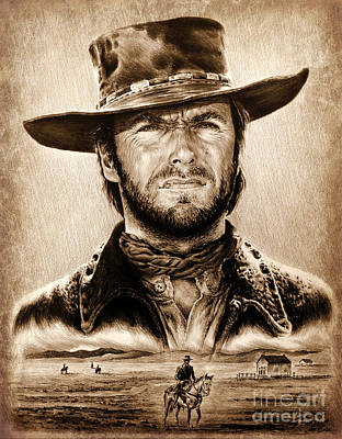 Wild Horse Drawing - The Stranger Ye Old Wild West Edit by Andrew Read